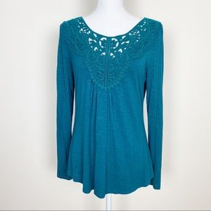 {Anthro} meadow rue teal green embroidered top